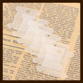 L011: 10st. Transparant Witte Kunststof Labels-Kaartjes van 40x35mm.