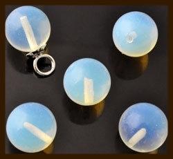 NK178: Natuursteen Plakstenen/Kralen rond met halfgeboord gat: Opal.