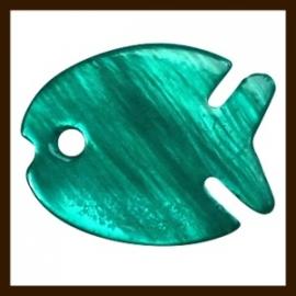 S014: 3st. Schelp Vis Hangers van 17x14mm: Turquoise.
