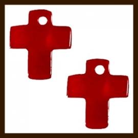 S08: 5st. Schelp Kruis Hangers van 13x10mm: Rood.