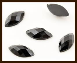 PSZ013: 10st. Ovale Facet Geslepen Acryl Plakstenen van 12x6mm: Zwart.