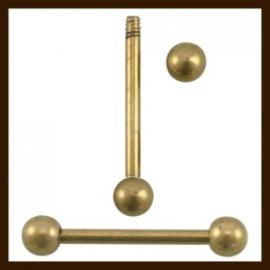 SHR033A: Metalen Nietstift met Afdraaibare Bol van 25mm: BronsKleur.