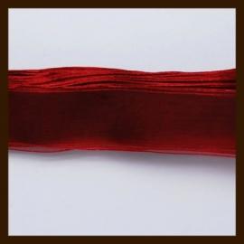 5m. Organza Lint: Bordeaux Rood.