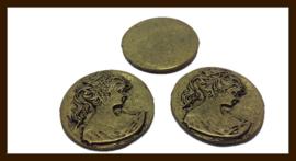 Metalen Bronskleurige Cabochon van 27mm.