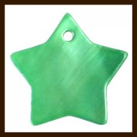 S011: 3st. Schelp Ster Hangers van 21x20mm: Groen.