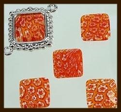 P066: Glazen Italian Style Plaksteen Vierkant van 14x14mm: Oranje-Rood.