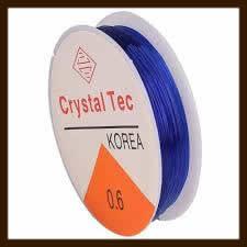 Rol Elastisch Nylondraad van 0.8mm, Lengte 8m: Transparant Donker Blauw.
