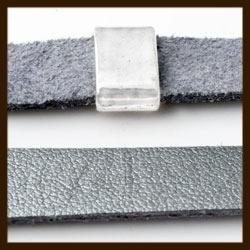 1 Meter IL02: Imitatie Leer van 10mm Breed: Zilver.
