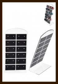 ORD4: Oorbellen Display Geschikt voor 12 paar Oorbellen van 13x7cm: Zwart-Transparant.