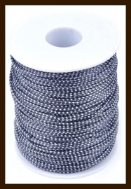 5 Meter Glanzend Waxed Polyester Koord van 1.5mm: Zwart-Wit.