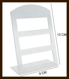 ORD6: Oorbellen Display Geschikt voor 24 paar Oorbellen van 13x9cm: Transparant.