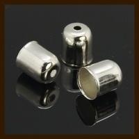 K010: Set van 2 Nikkelkleurige Eindkapjes van 5x4mm, rijggat is 3.2mm.