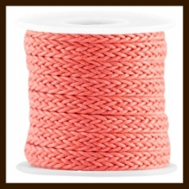 GWK31077: 20cm. Geweven Waxkoord van 7mm: Paparacha Roze Rood.