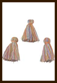 KW.018: Stoffen Kwastje Multicolor van 30mm: Lichte Tinten.