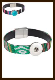 D972: DoubleBeads EasyButton Imitatieleren Armband: Groen.