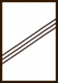 1m. Gevlochten Imitatie Leer van 3mm: Zwart-Bruin.