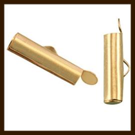K14: Set van 2 Oudgoudkleurige Eind-Schuifklemmen van 15x6mm. (Slide end tube)