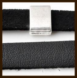 1 Meter IL010: Imitatie Leer van 10mm Breed: Zwart.