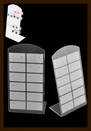 ORD3: Oorbellen Display Geschikt voor 12 paar Oorbellen van 13x7cm: Wit-Transparant.