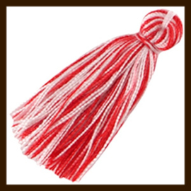 KW.017: Stoffen Kwastje Multicolor van 30mm: Rood - Wit.
