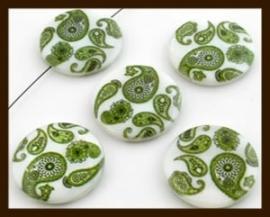 PSK015: Parelmoer Schelpkraal Bewerkt met Paisley Motief: Groen-Wit.
