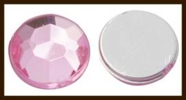 P701: Facet Geslepen Kunststof Plaksteen Rond van 12mm: Roze.