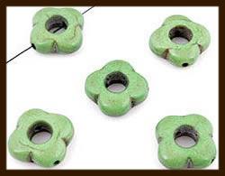 5 St. Natuurstenen Turquoise Bloem Kralen Mix van 15x15mm.