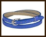LSK932: Imitatieleren armband 38cm, geschikt voor schuifkralen. Kleur: Blauw.