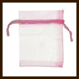 Organza Zakje van 9x7cm: Roze.