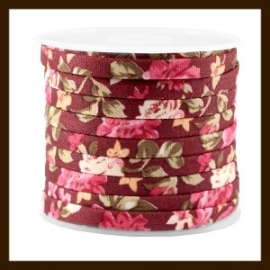 TRK785: 20cm Trendy Plat Koord van 5mm: Aubergine Red Rose.