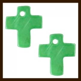 S09: 5st. Schelp Kruis Hangers van 13x10mm: Groen.