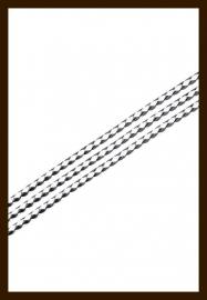 1m. Gevlochten Imitatie Leer van 3mm: Wit-Zwart.