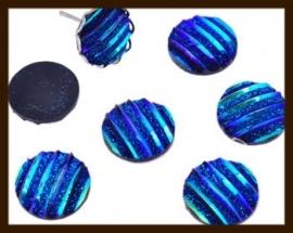 P661: Kunststof Plaksteen Rond van 10mm, Bewerkt met Glitter: Blauw AB.