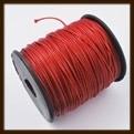 1 Meter: Waxed Polyester Koord van 1mm: Rood.