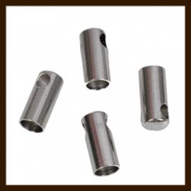 K021: Set van 2 Nikkelkleurige Eindkapjes van 8x4mm, rijggat is 3mm.