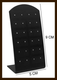ORD5: Oorbellen Display Geschikt voor 12 paar Oorbellen van 9x5cm: Zwart-Transparant.