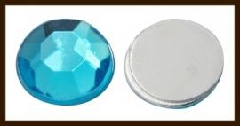P703: Facet Geslepen Kunststof Plaksteen Rond van 12mm: Licht Blauw.