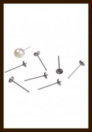 OS010: Set van 2st. Metalen (roestvrij staal) oorstekers voor kraal met halfgeboord gat 14x4mm  (met stoppers).