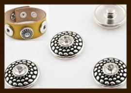 CH014: Chunk-Drukknoop-Easy Button van 18mm: Bewerkt met Strass Steen.