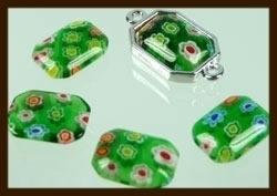 P065: Glazen Italian Style Plaksteen Rechthoek van 14x10mm: Groen.