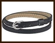 LSK931: Imitatieleren armband 38cm, geschikt voor schuifkralen. Kleur: Zwart.