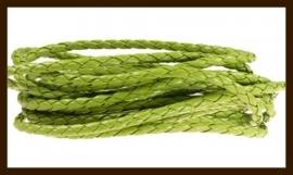 1m. Gevlochten Imitatie Leer van 3mm: Groen.