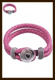 D295: DoubleBeads EasyButton Imitatieleren Armband: Roze.