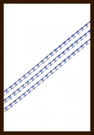 1m. Gevlochten Imitatie Leer van 3mm: Wit-Blauw.