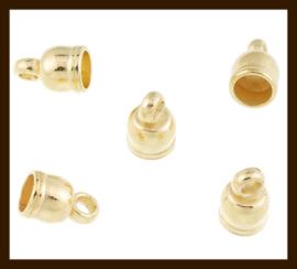 K046: Set van 2st. DQ Metallook Goudkleurige Eindkapjes van 10x6mm met 5mm Rijggat.