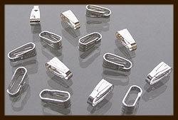 10st. Zilverkleurige Haakjes 8x3mm voor Hangers&Bedels.