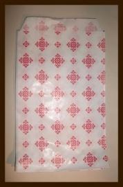 10st. Fournituren, Verpakking zakjes van 21x12cm: Wit-Rood.