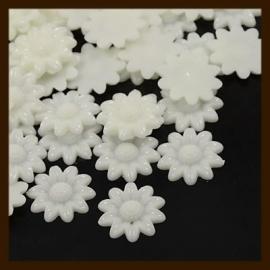 Acryl plaksteen Bloem van 20mm: Wit.