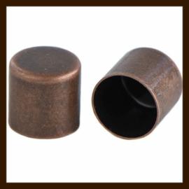 K018: Set van 2 DQ Koperkleurige Einddopjes van 4x3mm, rijggat is 2mm.