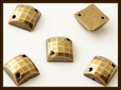 P0129: 5st. Plak / Sew-On Acryl Ruit Steentjes van 8x8mm: Bronskleur.